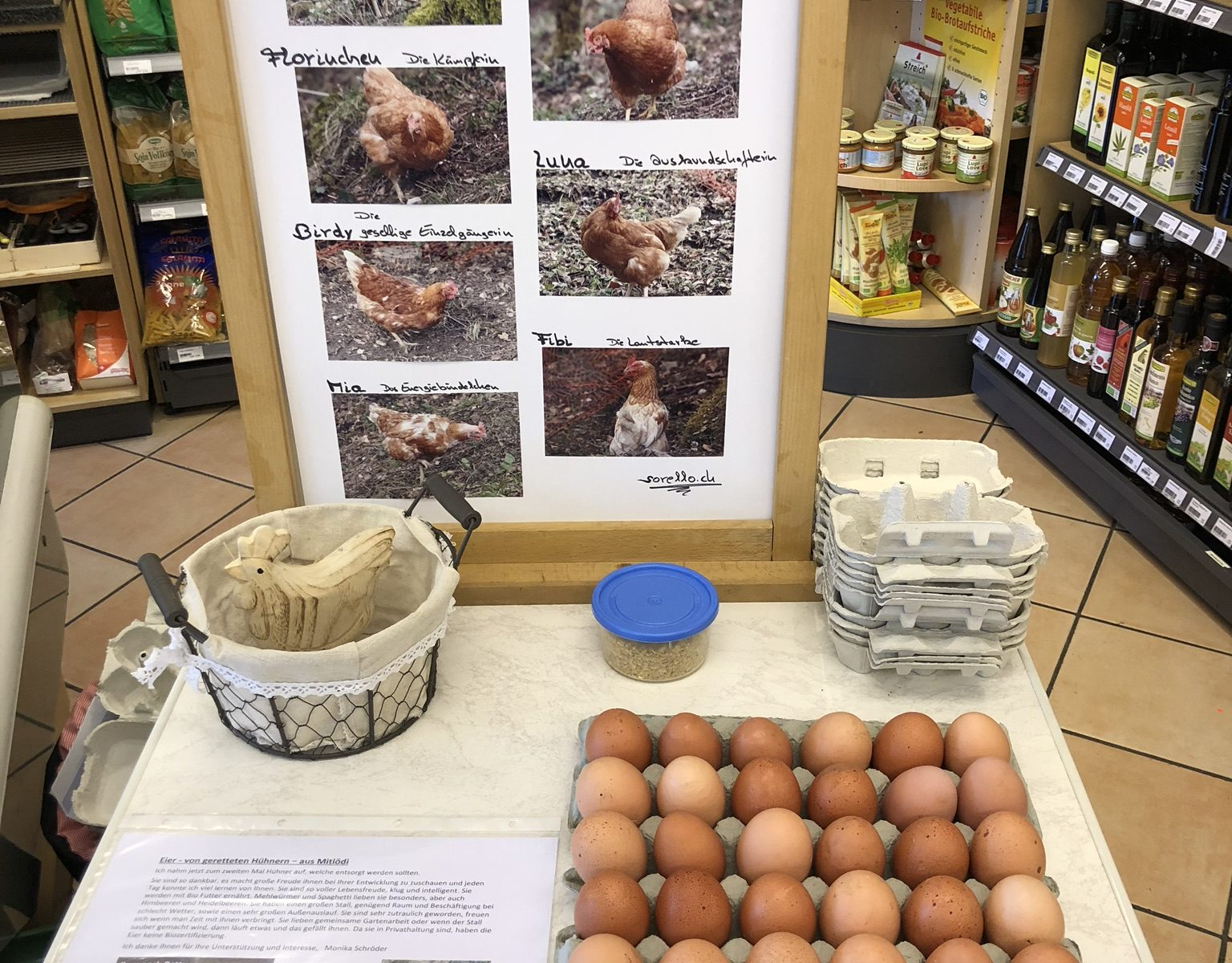 Stand Eierverkauf Ulme